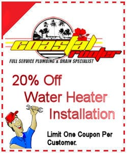 20 percent off water heater installation